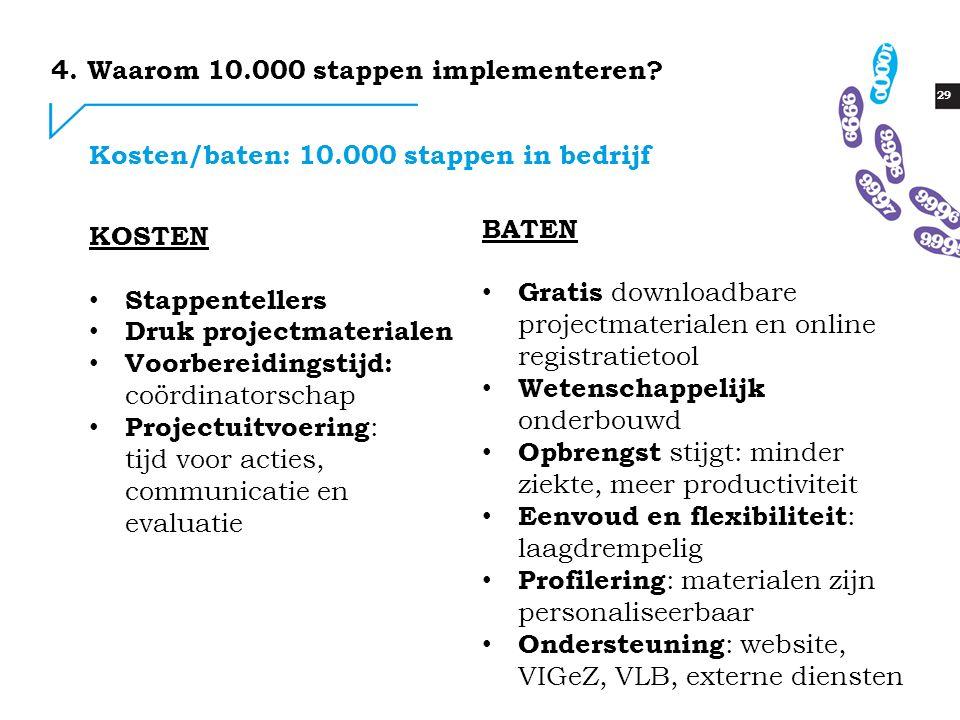 29 Kosten/baten: 10.000 stappen in bedrijf 4.Waarom 10.000 stappen implementeren.