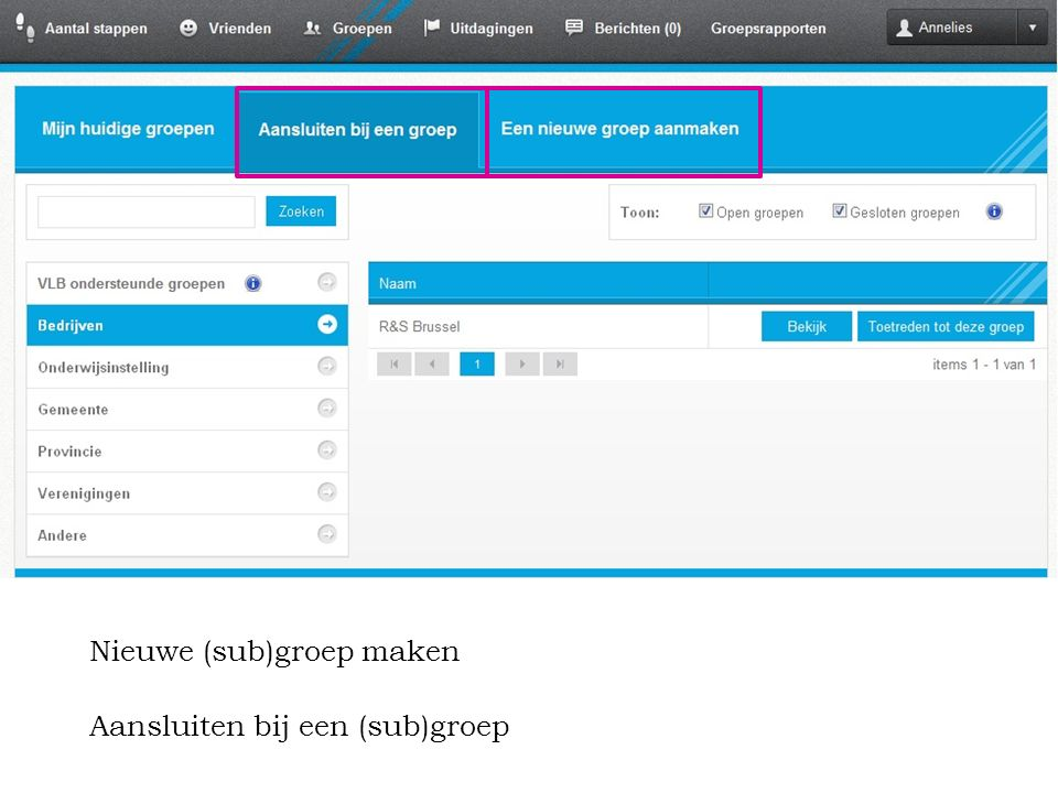 54 Gebruik en promotie van de ONLINE REGISTRATIETOOL 5. Hoe implementeren? Aansluiten bij een (sub)groep Nieuwe (sub)groep maken