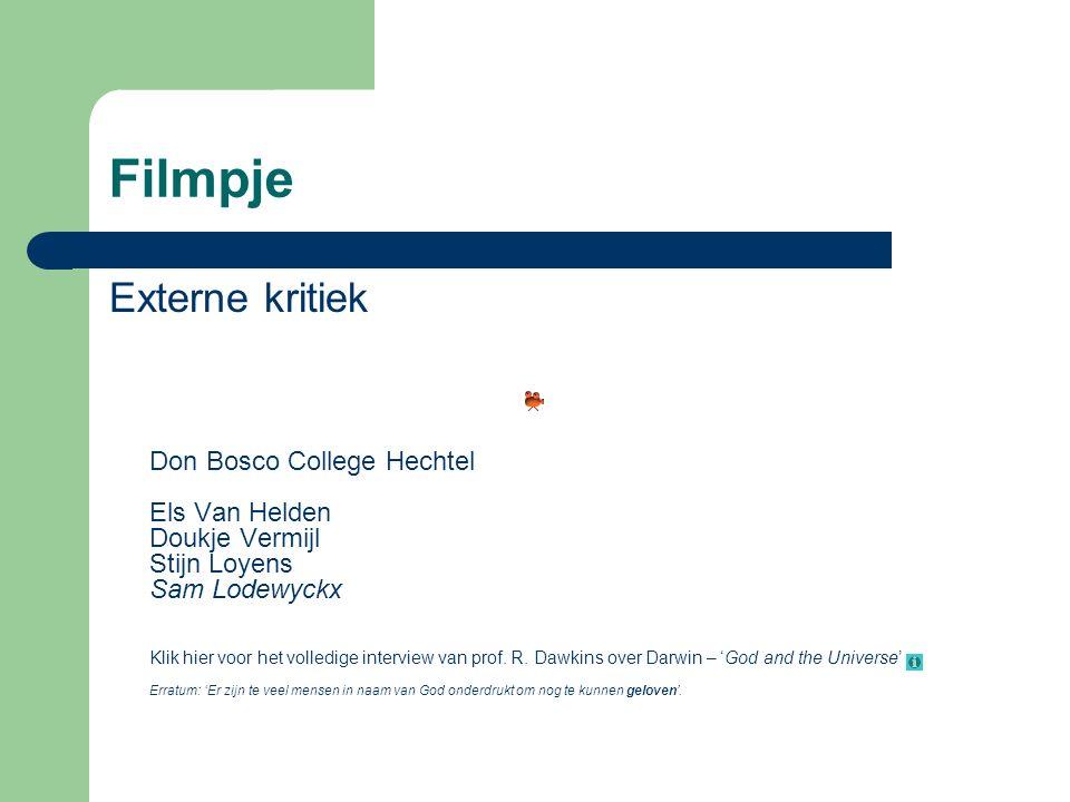 Filmpje Externe kritiek Don Bosco College Hechtel Els Van Helden Doukje Vermijl Stijn Loyens Sam Lodewyckx Klik hier voor het volledige interview van prof.