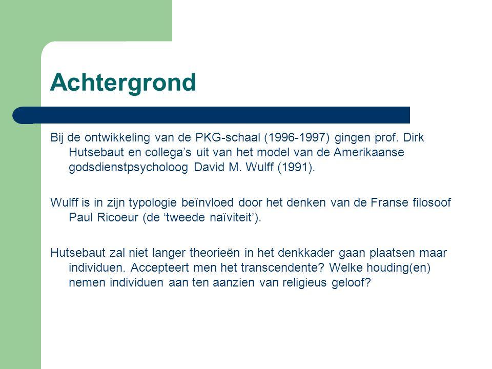 Achtergrond Bij de ontwikkeling van de PKG-schaal (1996-1997) gingen prof.