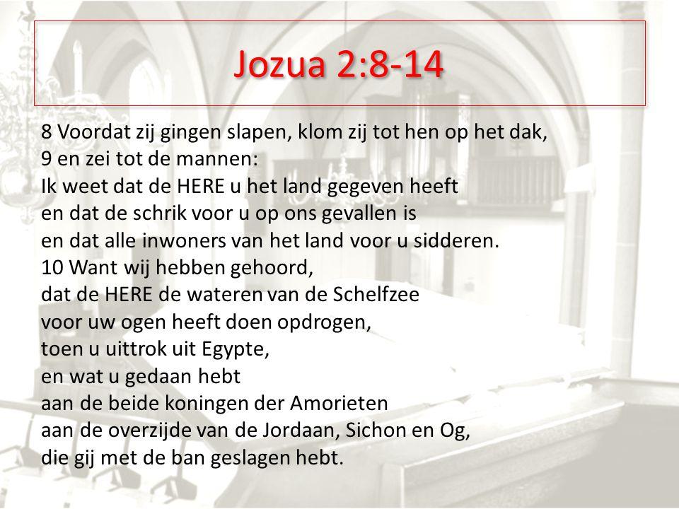 Jozua 2:8-14 8 Voordat zij gingen slapen, klom zij tot hen op het dak, 9 en zei tot de mannen: Ik weet dat de HERE u het land gegeven heeft en dat de schrik voor u op ons gevallen is en dat alle inwoners van het land voor u sidderen.