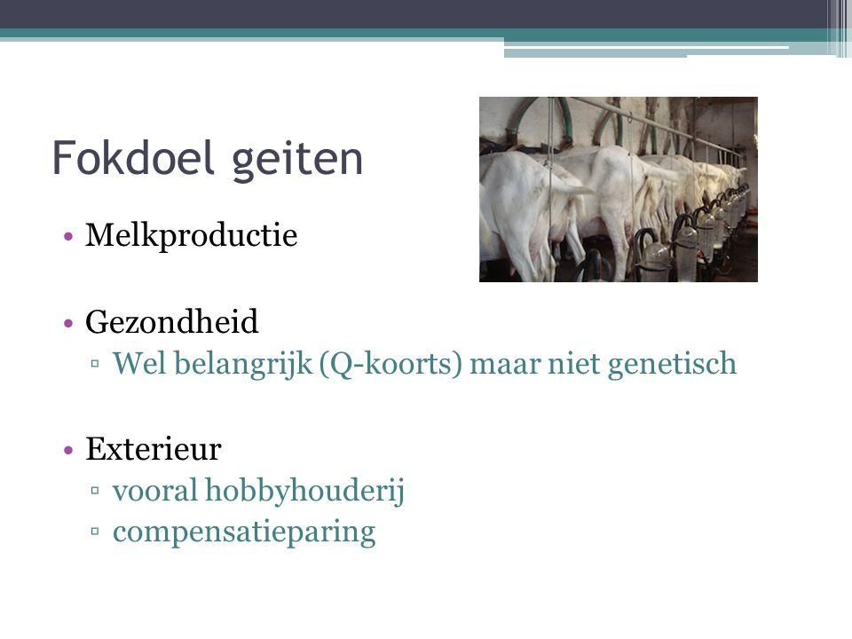 Fokdoel geiten Melkproductie Gezondheid ▫Wel belangrijk (Q-koorts) maar niet genetisch Exterieur ▫vooral hobbyhouderij ▫compensatieparing