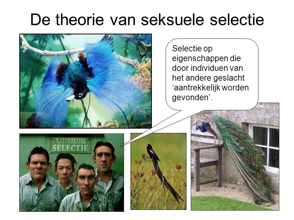De theorie van seksuele selectie Selectie op eigenschappen die door individuen van het andere geslacht 'aantrekkelijk worden gevonden'.