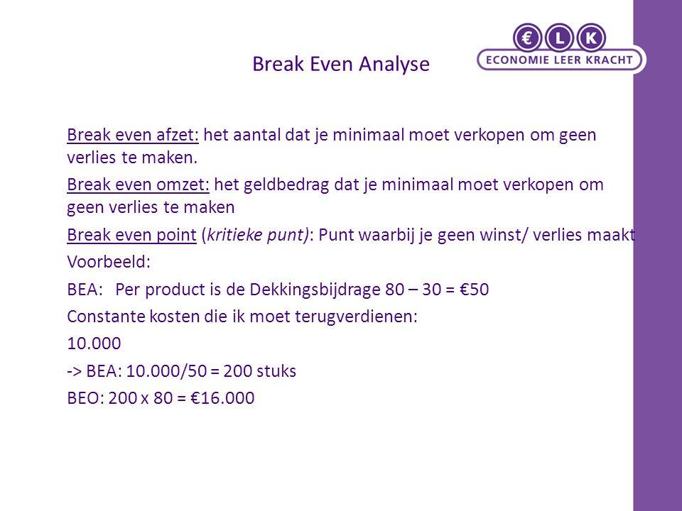 Break Even Analyse Break even afzet: het aantal dat je minimaal moet verkopen om geen verlies te maken.
