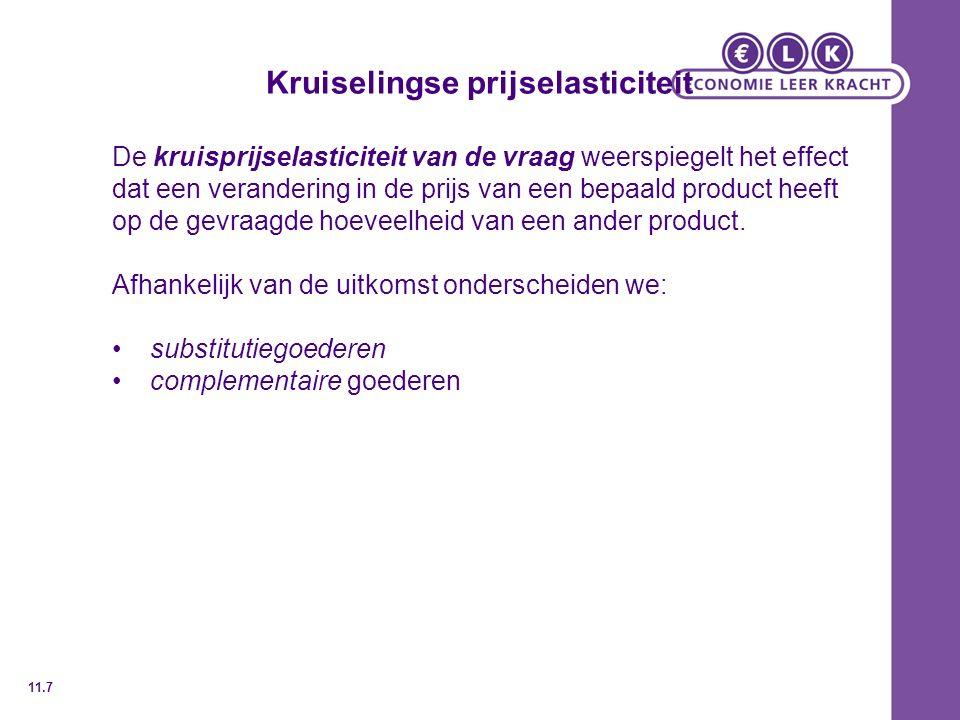Kruiselingse prijselasticiteit De kruisprijselasticiteit van de vraag weerspiegelt het effect dat een verandering in de prijs van een bepaald product heeft op de gevraagde hoeveelheid van een ander product.
