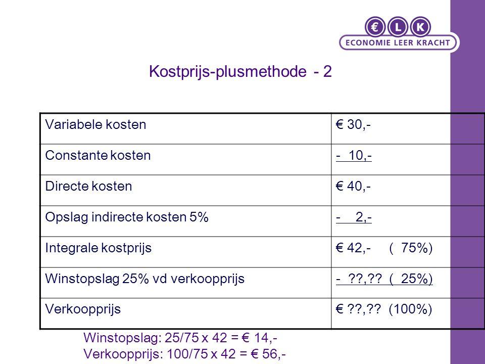 Kostprijs-plusmethode - 2 Variabele kosten€ 30,- Constante kosten- 10,- Directe kosten€ 40,- Opslag indirecte kosten 5%- 2,- Integrale kostprijs€ 42,- ( 75%) Winstopslag 25% vd verkoopprijs- ??,?.