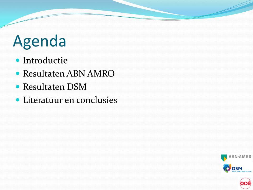 Agenda Introductie Resultaten ABN AMRO Resultaten DSM Literatuur en conclusies