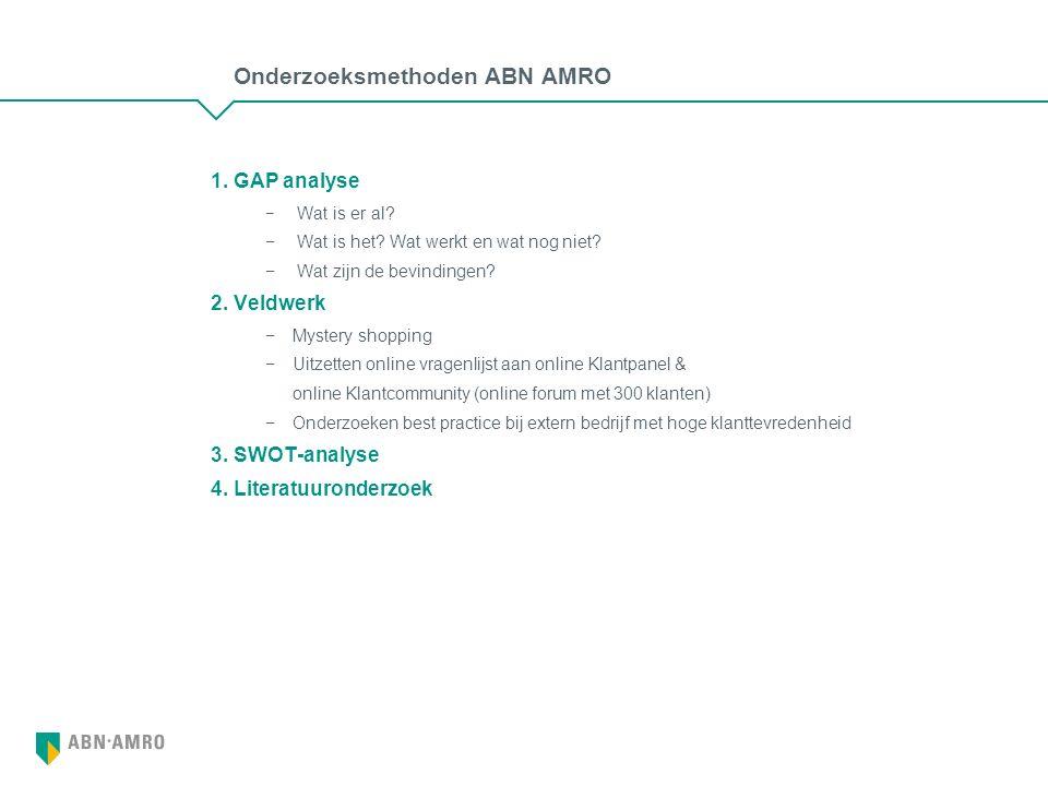 Onderzoeksmethoden ABN AMRO 1. GAP analyse − Wat is er al.