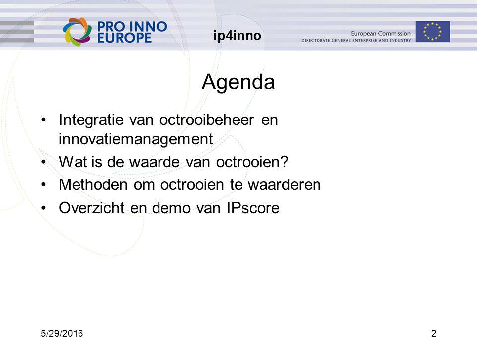 ip4inno 5/29/20162 Agenda Integratie van octrooibeheer en innovatiemanagement Wat is de waarde van octrooien.