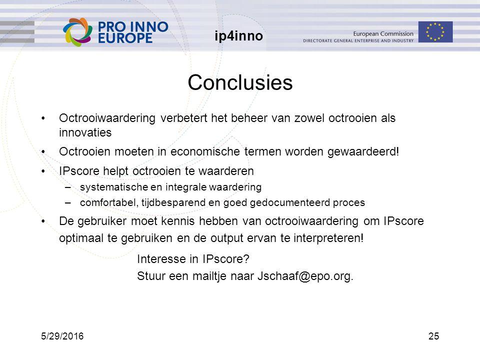 ip4inno 5/29/201625 Conclusies Octrooiwaardering verbetert het beheer van zowel octrooien als innovaties Octrooien moeten in economische termen worden gewaardeerd.