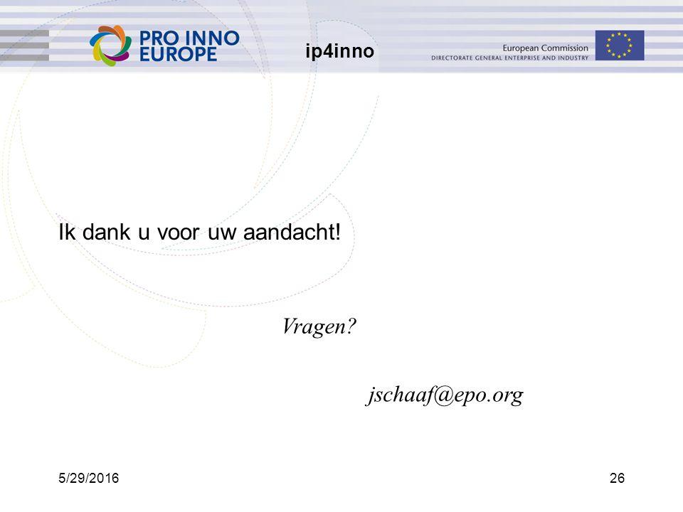 ip4inno 5/29/201626 Ik dank u voor uw aandacht! jschaaf@epo.org Vragen