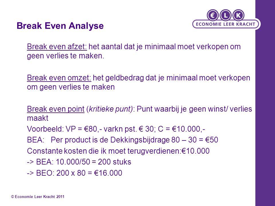 Break Even Analyse Break even afzet: het aantal dat je minimaal moet verkopen om geen verlies te maken. Break even omzet: het geldbedrag dat je minima