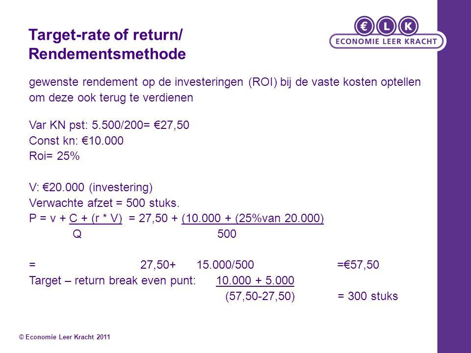 Target-rate of return/ Rendementsmethode gewenste rendement op de investeringen (ROI) bij de vaste kosten optellen om deze ook terug te verdienen Var