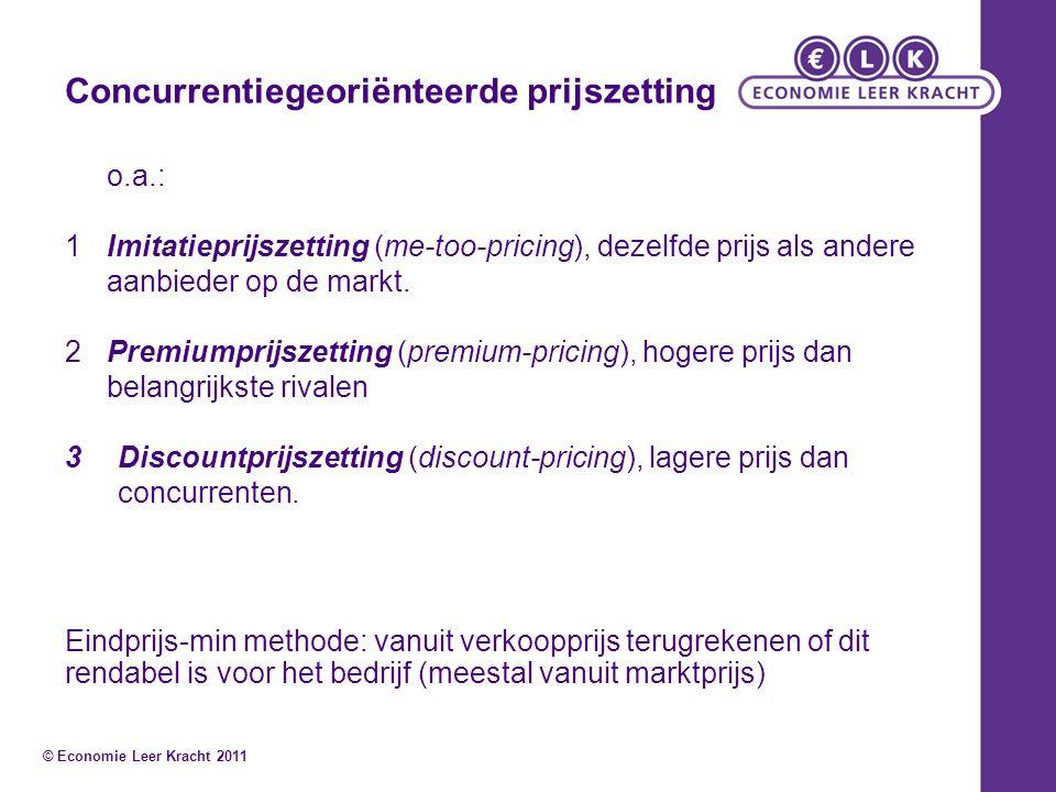 Concurrentiegeoriënteerde prijszetting o.a.: 1Imitatieprijszetting (me-too-pricing), dezelfde prijs als andere aanbieder op de markt. 2Premiumprijszet