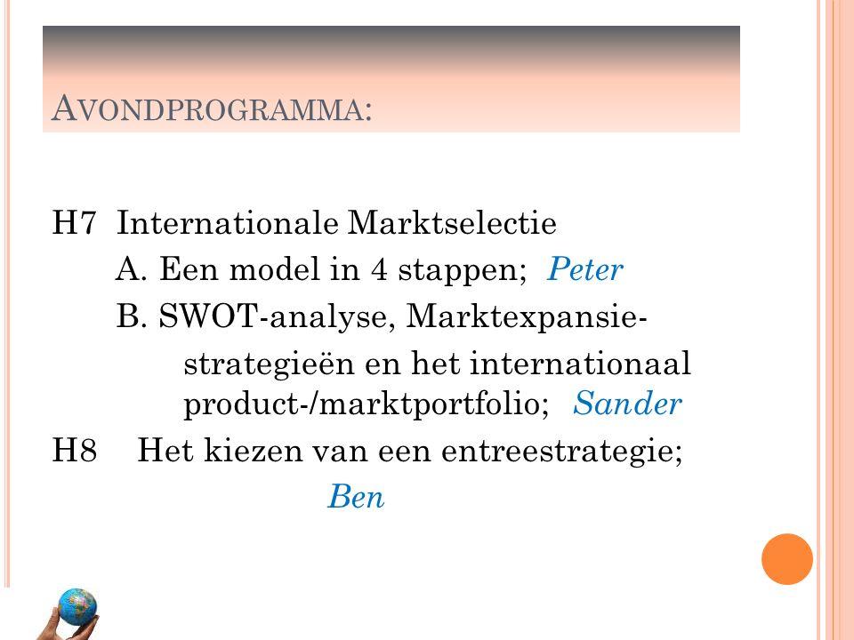 A VONDPROGRAMMA : H7 Internationale Marktselectie A. Een model in 4 stappen; Peter B. SWOT-analyse, Marktexpansie- strategieën en het internationaal p