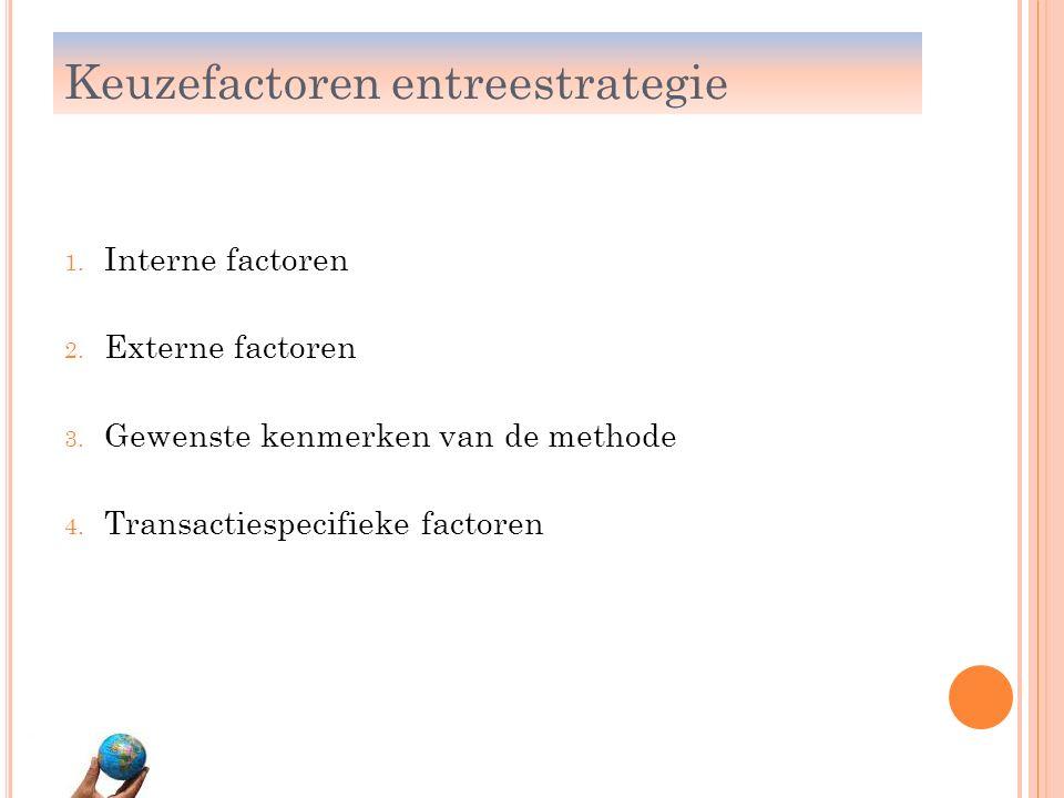 1. Interne factoren 2. Externe factoren 3. Gewenste kenmerken van de methode 4. Transactiespecifieke factoren Keuzefactoren entreestrategie