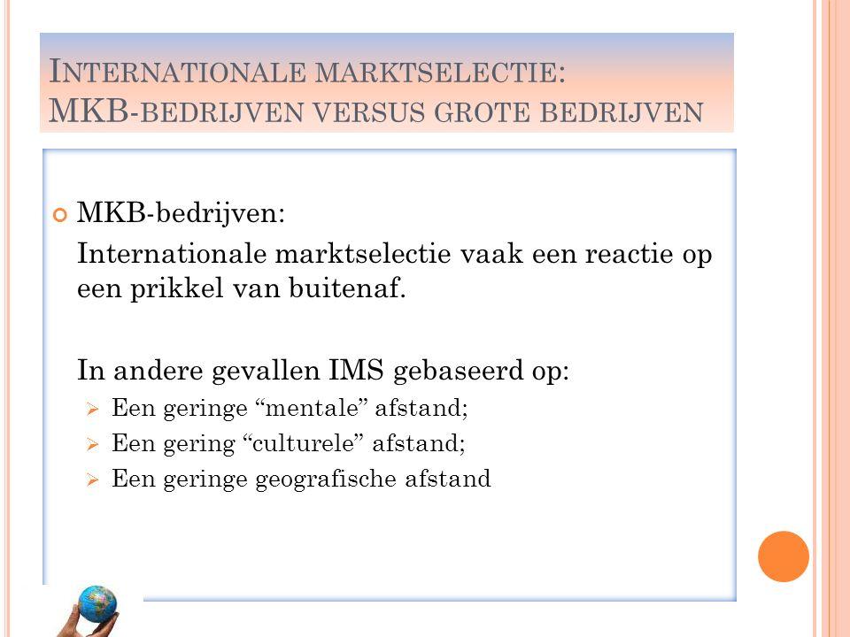 I NTERNATIONALE MARKTSELECTIE : MKB- BEDRIJVEN VERSUS GROTE BEDRIJVEN MKB-bedrijven: Internationale marktselectie vaak een reactie op een prikkel van