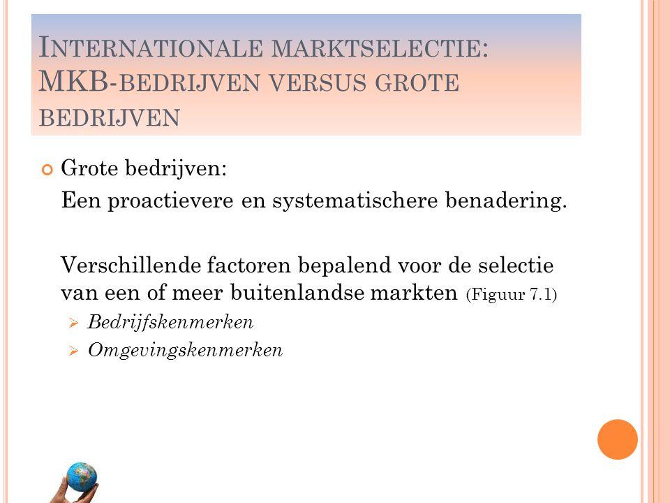 I NTERNATIONALE MARKSELECTIE : MKB- BEDRIJVEN VERSUS GROTE BEDRIJVEN Grote bedrijven: Een proactievere en systematischere benadering. Verschillende fa