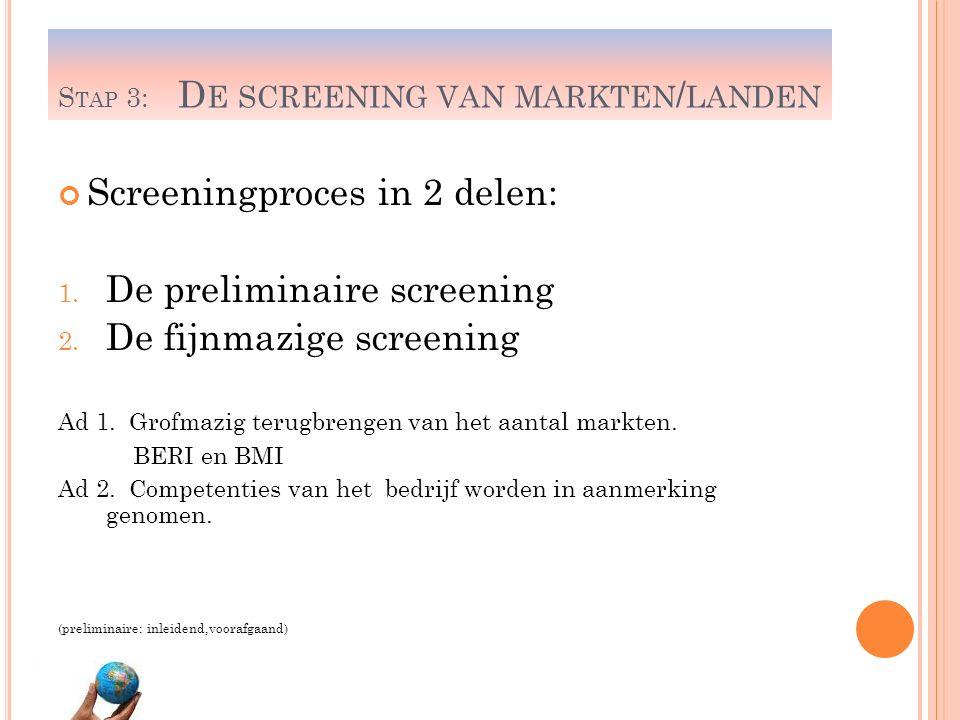 S TAP 3: D E SCREENING VAN MARKTEN / LANDEN Screeningproces in 2 delen: 1. De preliminaire screening 2. De fijnmazige screening Ad 1. Grofmazig terugb