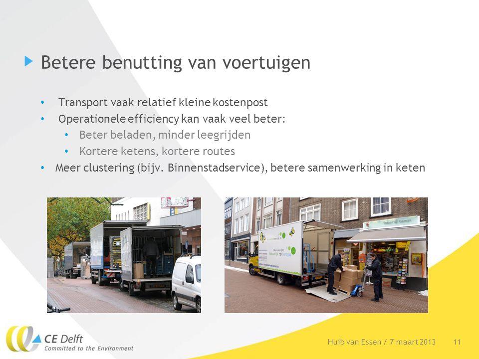 Betere benutting van voertuigen Transport vaak relatief kleine kostenpost Operationele efficiency kan vaak veel beter: Beter beladen, minder leegrijde