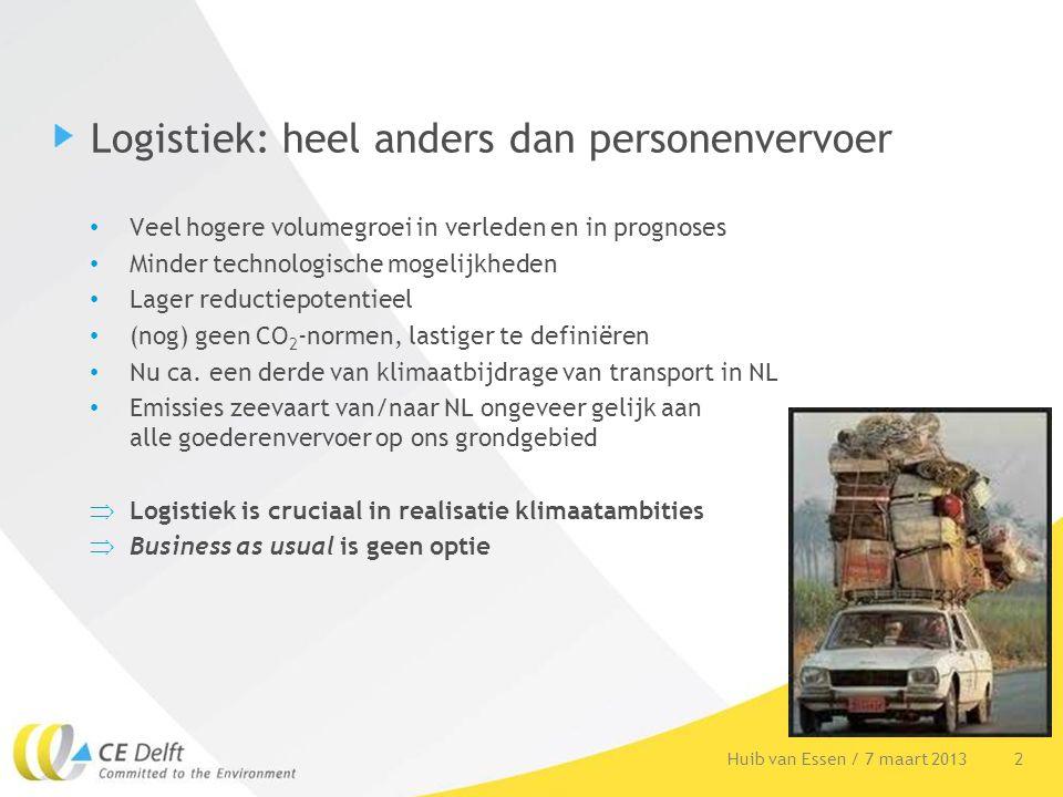 2Huib van Essen / 7 maart 2013 Logistiek: heel anders dan personenvervoer Veel hogere volumegroei in verleden en in prognoses Minder technologische mo