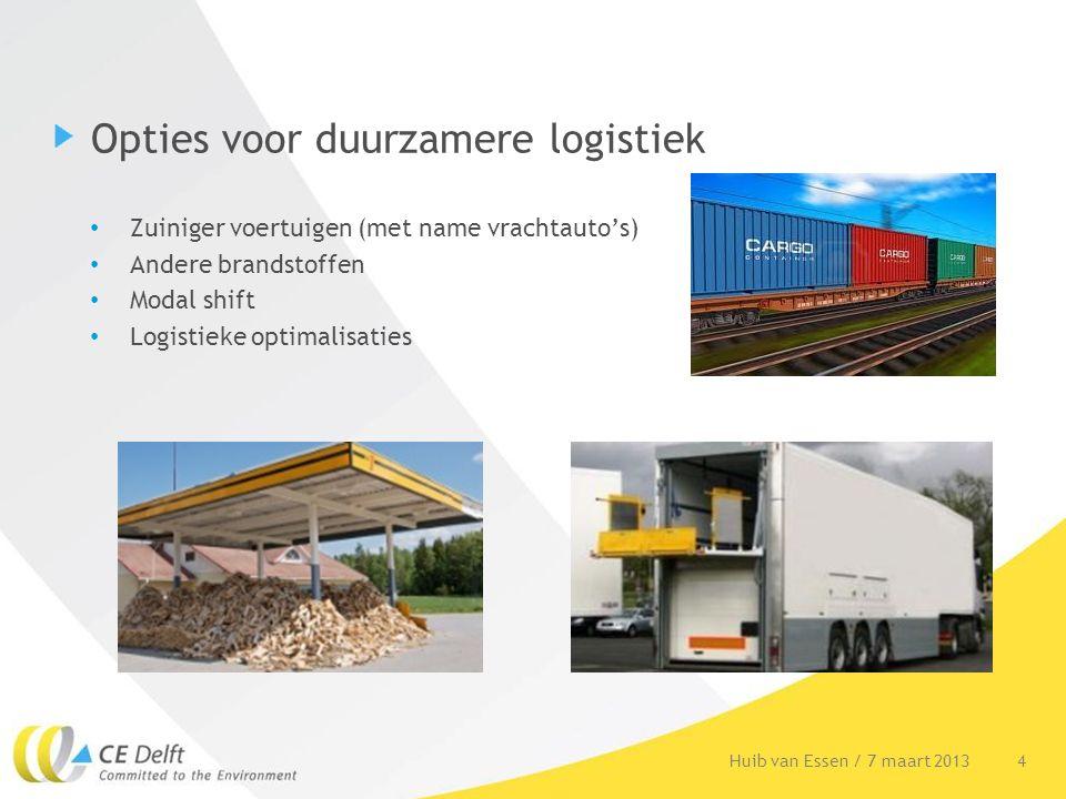 Opties voor duurzamere logistiek Zuiniger voertuigen (met name vrachtauto's) Andere brandstoffen Modal shift Logistieke optimalisaties 4Huib van Essen