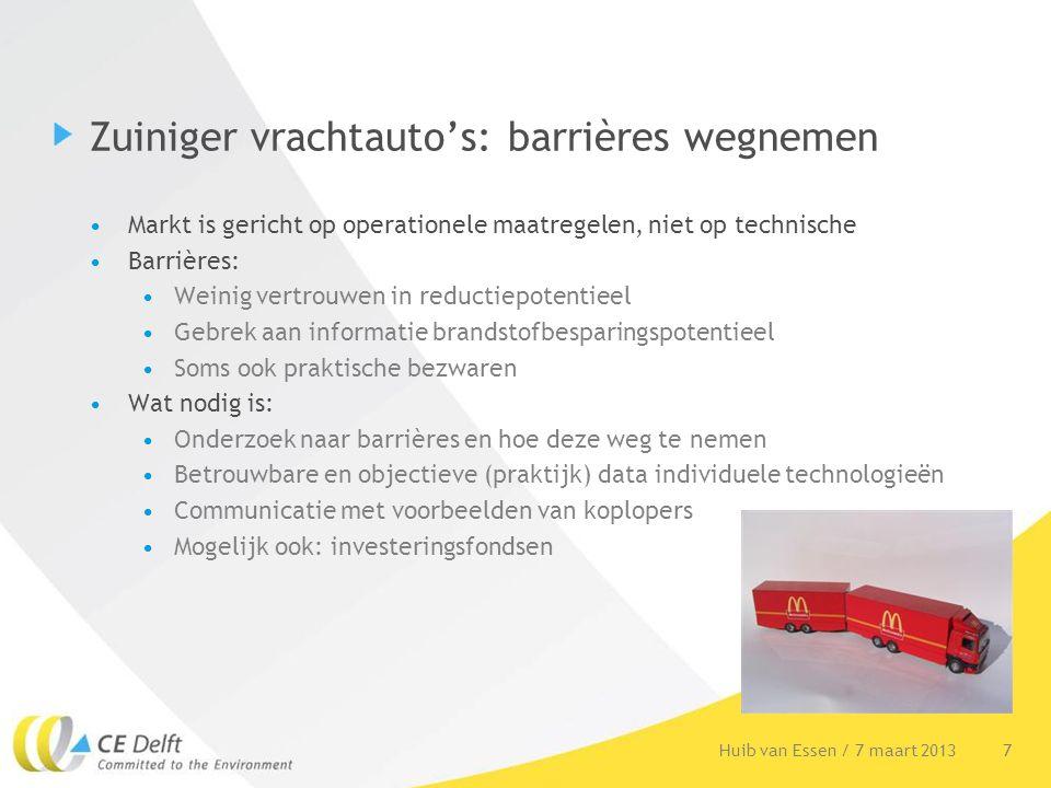Zuiniger vrachtauto's: barrières wegnemen Markt is gericht op operationele maatregelen, niet op technische Barrières: Weinig vertrouwen in reductiepot