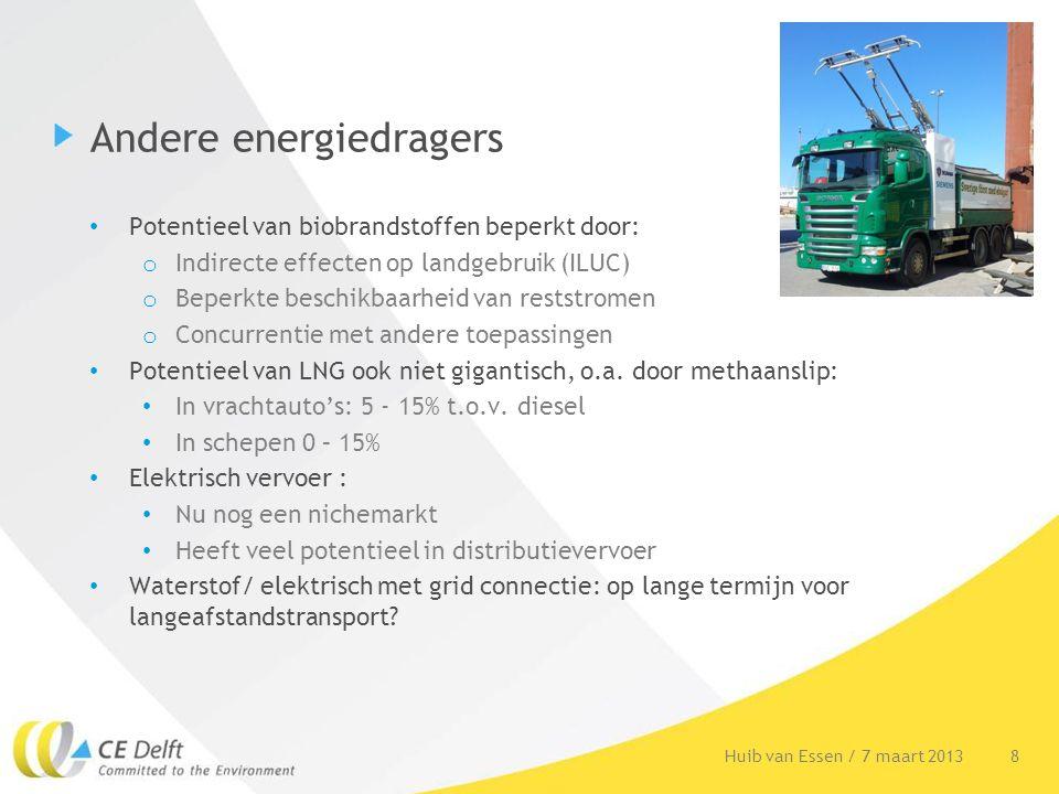 Andere energiedragers Potentieel van biobrandstoffen beperkt door: o Indirecte effecten op landgebruik (ILUC) o Beperkte beschikbaarheid van reststrom