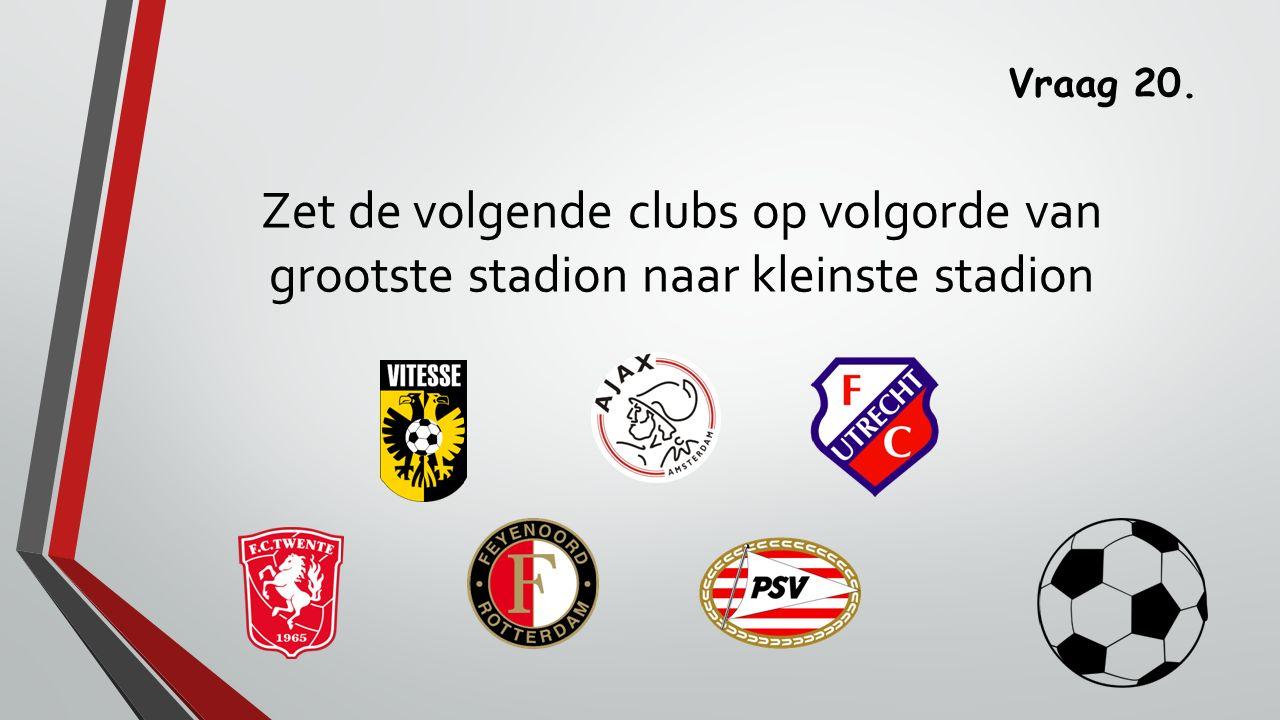 Vraag 20. Zet de volgende clubs op volgorde van grootste stadion naar kleinste stadion