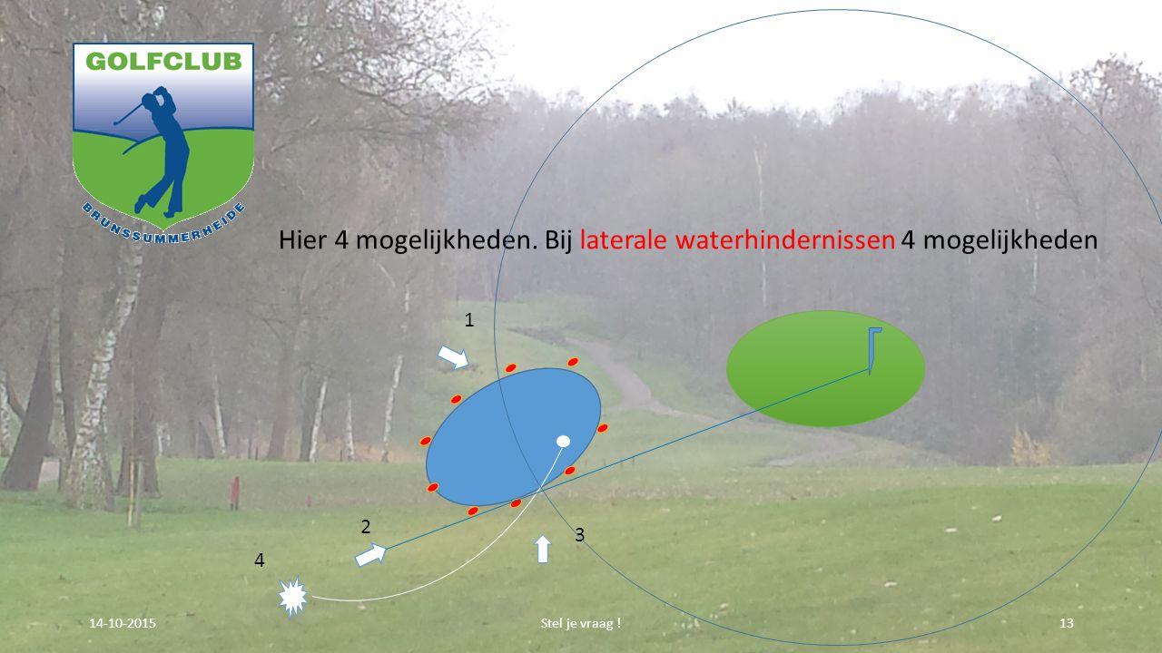 Hier 4 mogelijkheden. Bij laterale waterhindernissen 4 mogelijkheden Stel je vraag !1314-10-2015 3 1 2 4