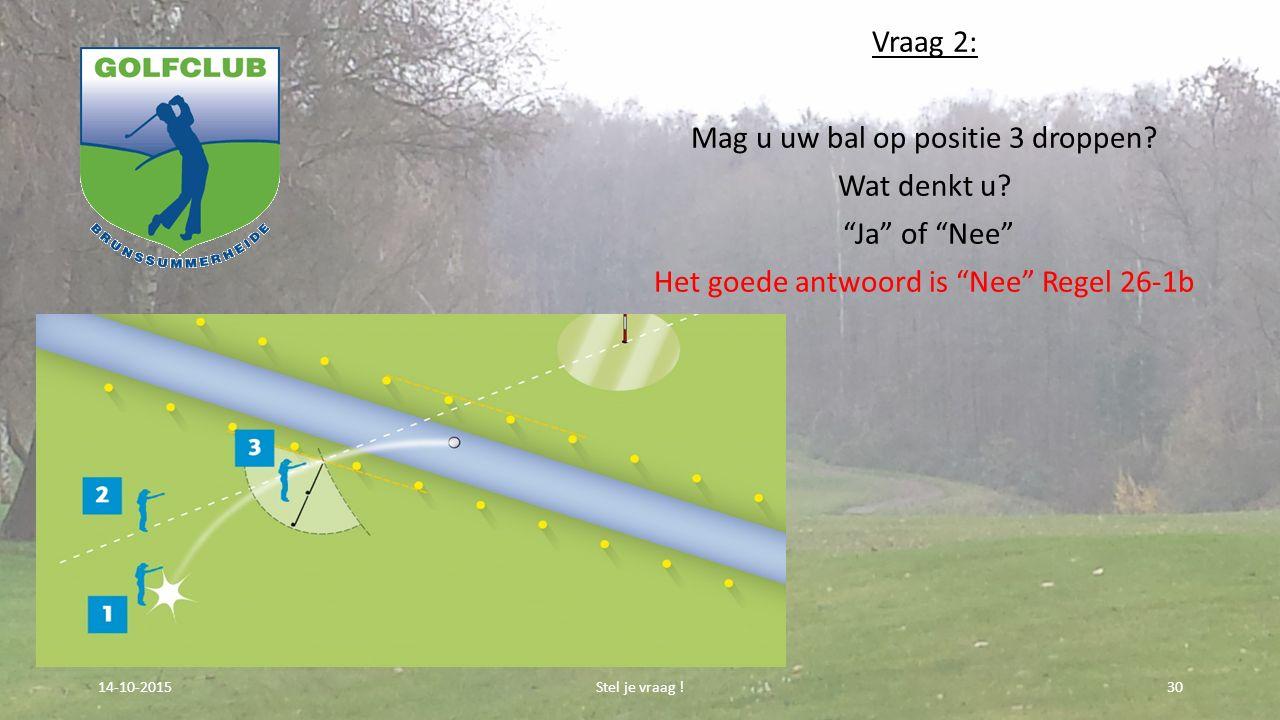 """Vraag 2: Mag u uw bal op positie 3 droppen? Wat denkt u? """"Ja"""" of """"Nee"""" Het goede antwoord is """"Nee"""" Regel 26-1b Stel je vraag !3014-10-2015"""