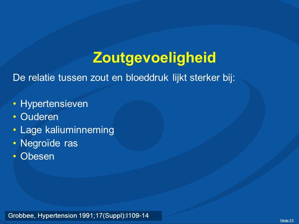 Slide 23 Zoutgevoeligheid De relatie tussen zout en bloeddruk lijkt sterker bij: Hypertensieven Ouderen Lage kaliuminneming Negroïde ras Obesen Grobbee, Hypertension 1991;17(Suppl):I109-14