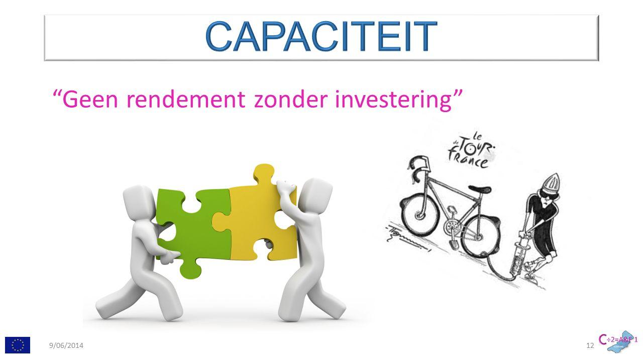 Geen rendement zonder investering 9/06/201412