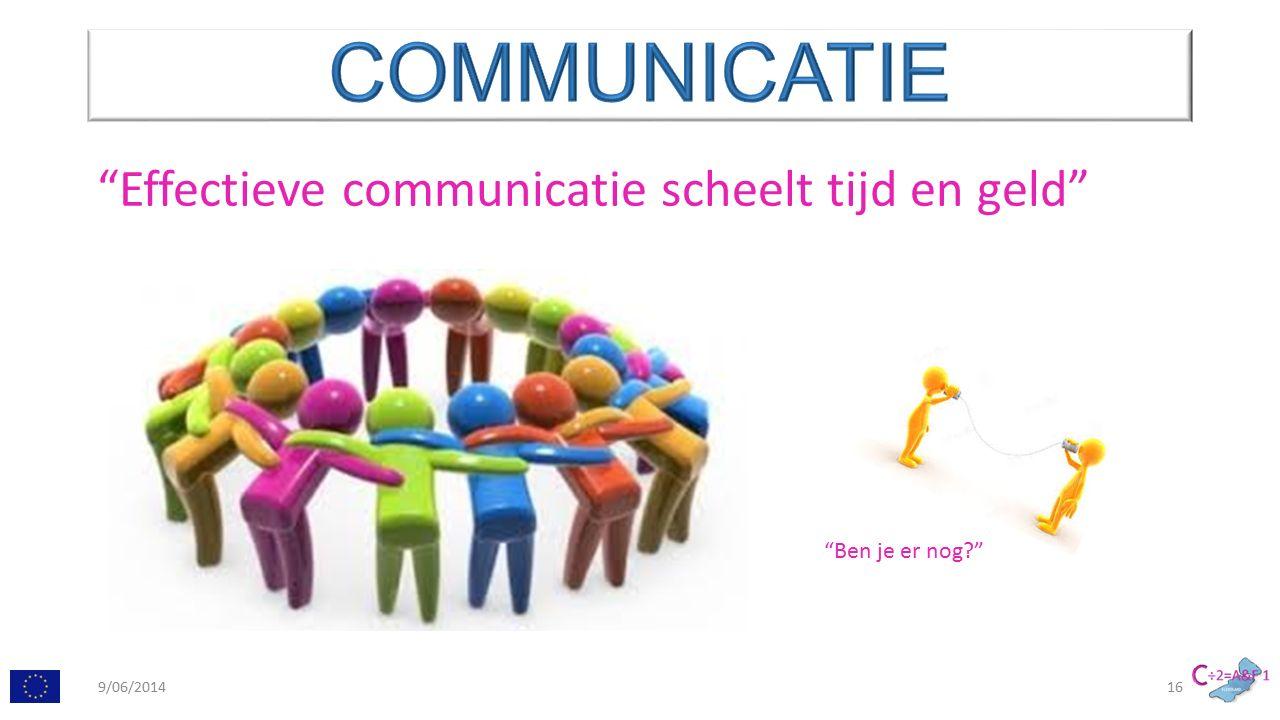 Effectieve communicatie scheelt tijd en geld Ben je er nog 9/06/201416