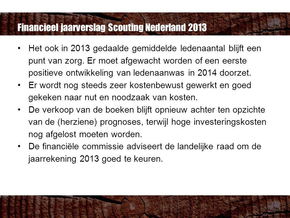 Financieel jaarverslag Scouting Nederland 2013 Het ook in 2013 gedaalde gemiddelde ledenaantal blijft een punt van zorg.
