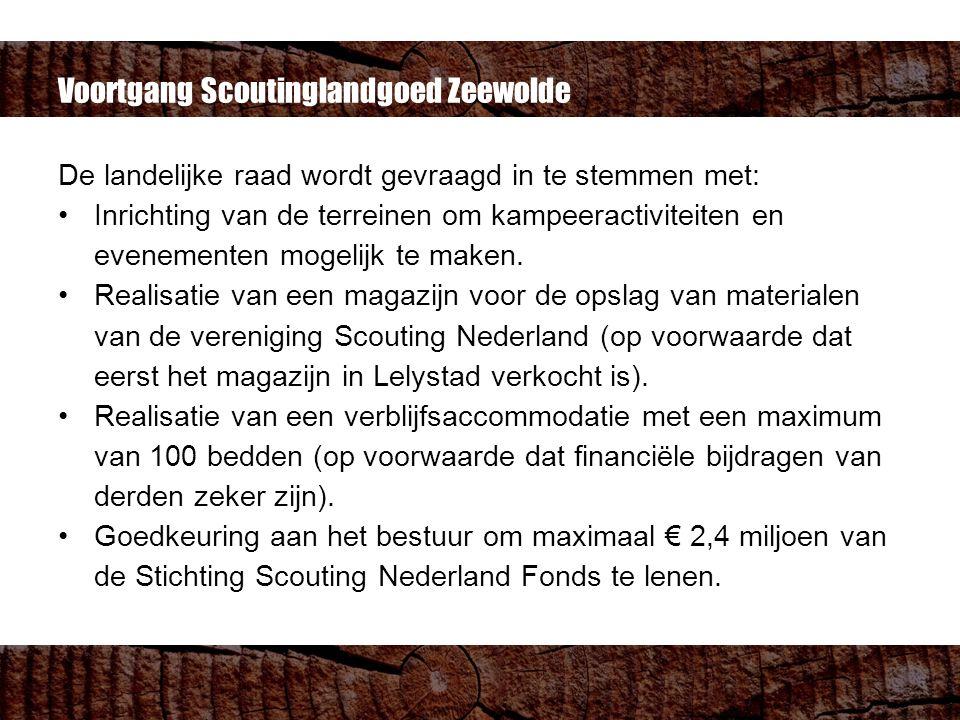 Voortgang Scoutinglandgoed Zeewolde De landelijke raad wordt gevraagd in te stemmen met: Inrichting van de terreinen om kampeeractiviteiten en evenementen mogelijk te maken.
