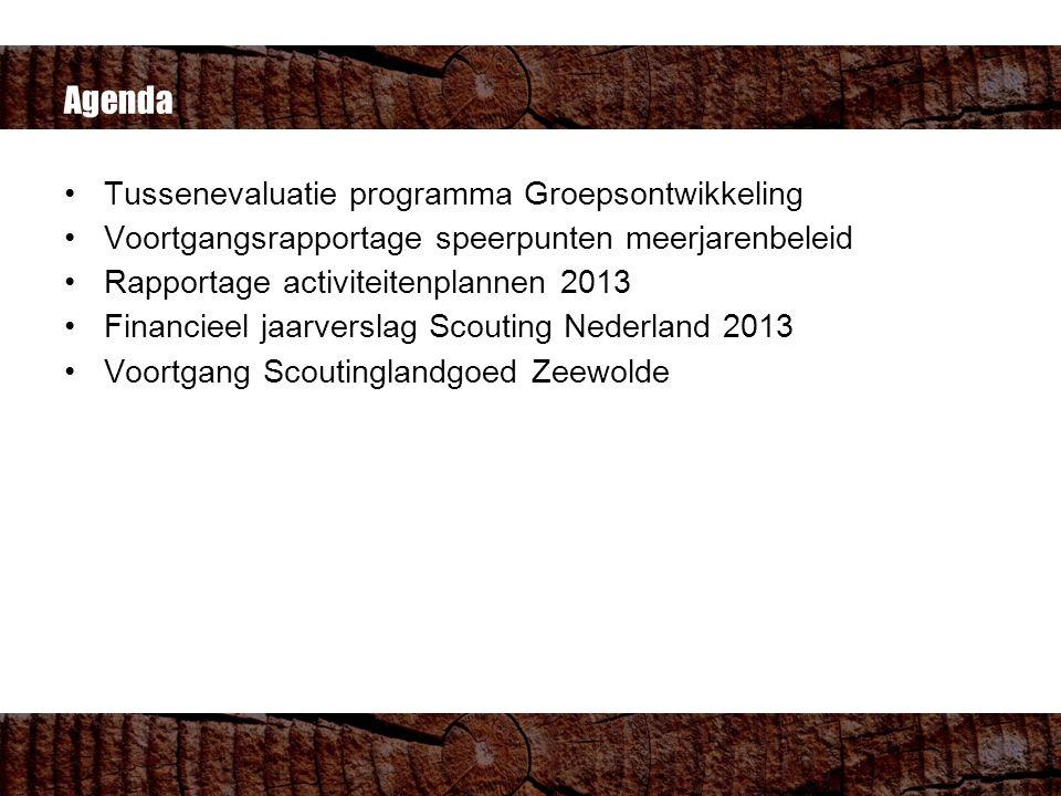 Agenda Tussenevaluatie programma Groepsontwikkeling Voortgangsrapportage speerpunten meerjarenbeleid Rapportage activiteitenplannen 2013 Financieel jaarverslag Scouting Nederland 2013 Voortgang Scoutinglandgoed Zeewolde
