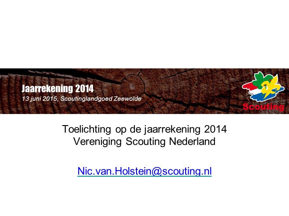 Jaarrekening 2014 13 juni 2015, Scoutinglandgoed Zeewolde Toelichting op de jaarrekening 2014 Vereniging Scouting Nederland Nic.van.Holstein@scouting.nl