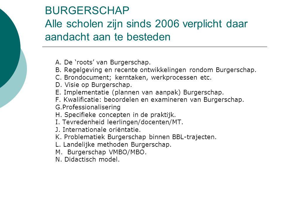 BURGERSCHAP Alle scholen zijn sinds 2006 verplicht daar aandacht aan te besteden A. De 'roots' van Burgerschap. B. Regelgeving en recente ontwikkeling