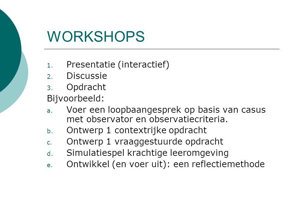 WORKSHOPS 1. Presentatie (interactief) 2. Discussie 3. Opdracht Bijvoorbeeld: a. Voer een loopbaangesprek op basis van casus met observator en observa