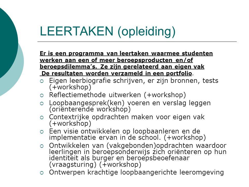 LEERTAKEN (opleiding) Er is een programma van leertaken waarmee studenten werken aan een of meer beroepsproducten en/of beroepsdilemma's. Ze zijn gere