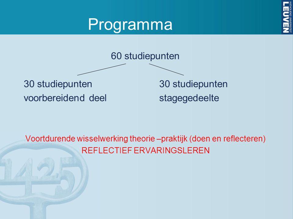 Programma 60 studiepunten30 studiepunten voorbereidend deelstagegedeelte Voortdurende wisselwerking theorie –praktijk (doen en reflecteren) REFLECTIEF