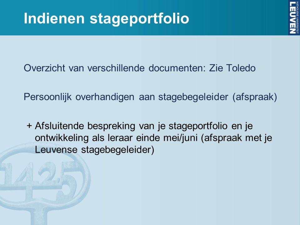 Indienen stageportfolio Overzicht van verschillende documenten: Zie Toledo Persoonlijk overhandigen aan stagebegeleider (afspraak) + Afsluitende bespr