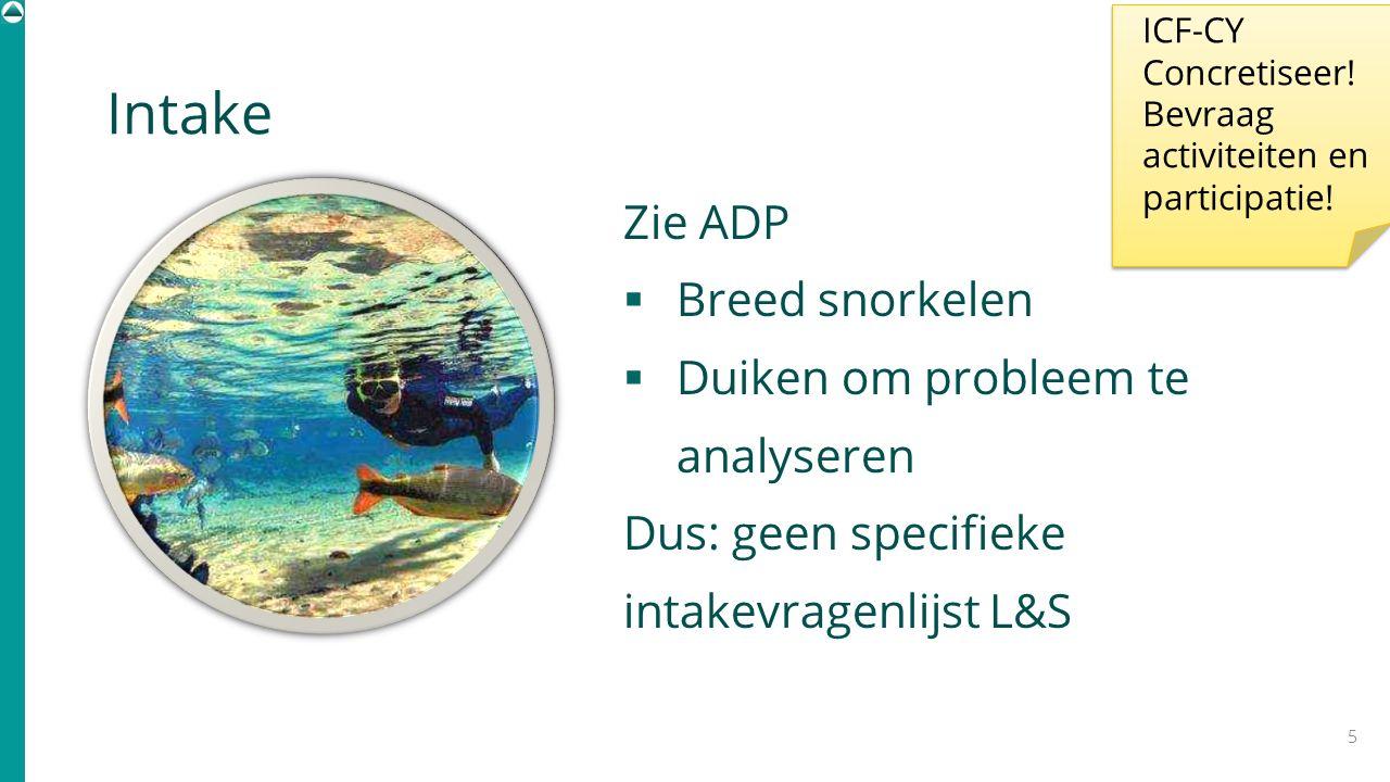 Intake Zie ADP  Breed snorkelen  Duiken om probleem te analyseren Dus: geen specifieke intakevragenlijst L&S 5 ICF-CY Concretiseer! Bevraag activite