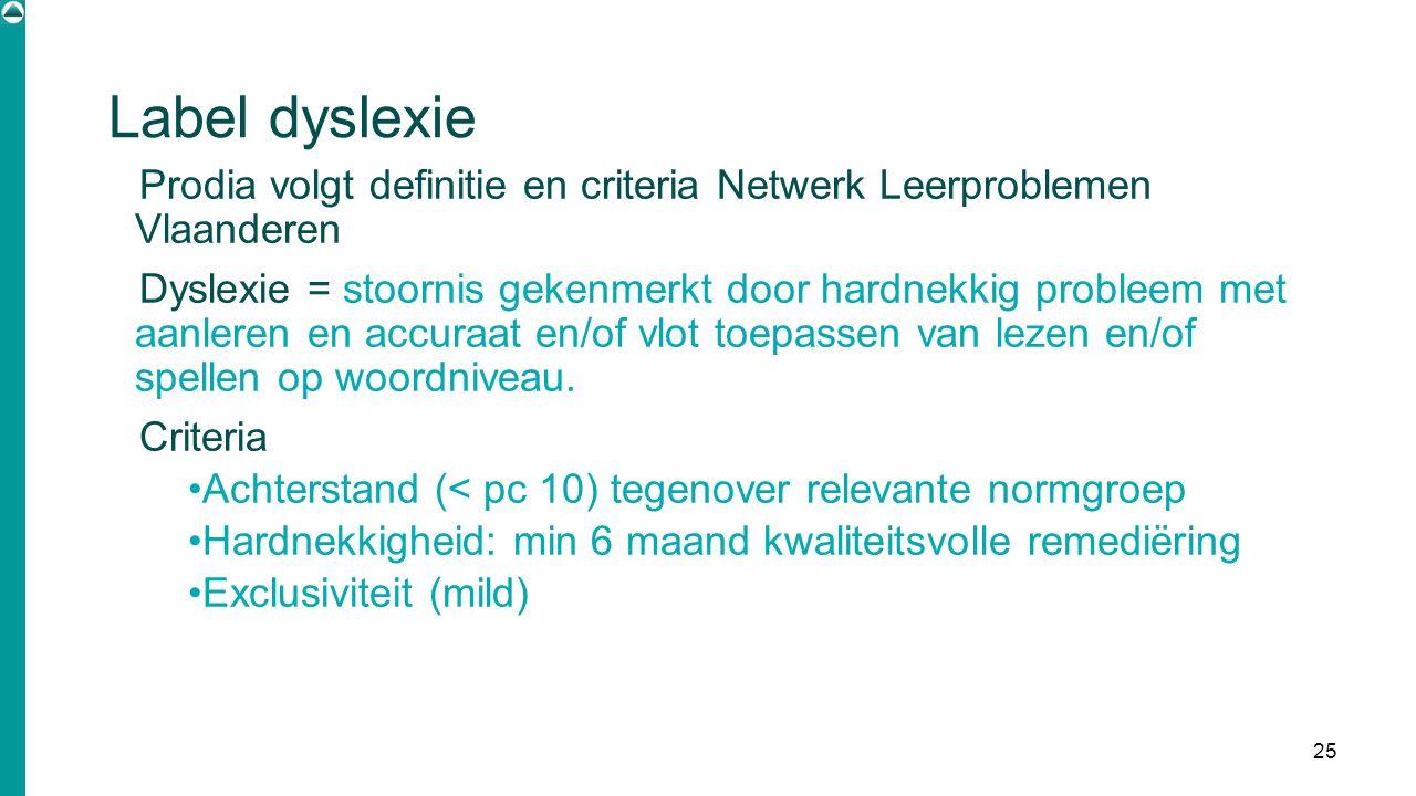 Label dyslexie Prodia volgt definitie en criteria Netwerk Leerproblemen Vlaanderen Dyslexie = stoornis gekenmerkt door hardnekkig probleem met aanlere