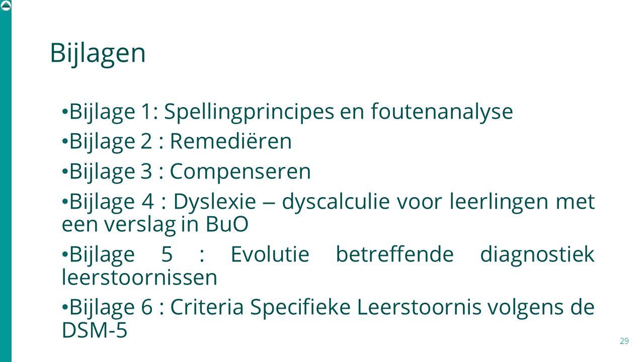 Bijlagen Bijlage 1: Spellingprincipes en foutenanalyse Bijlage 2 : Remediëren Bijlage 3 : Compenseren Bijlage 4 : Dyslexie – dyscalculie voor leerling