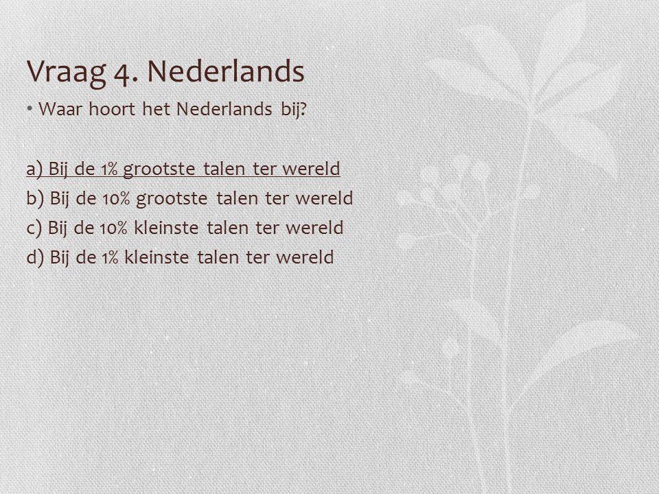 Vraag 4. Nederlands Waar hoort het Nederlands bij.