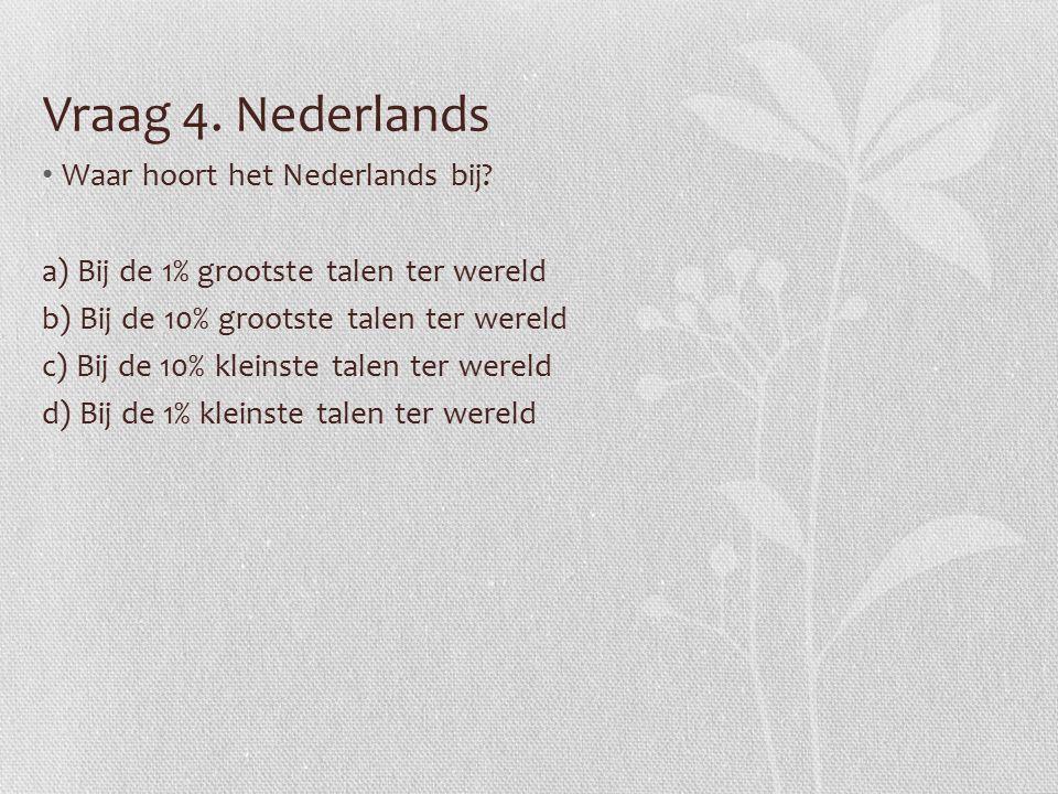 Vraag 4.Nederlands Waar hoort het Nederlands bij.