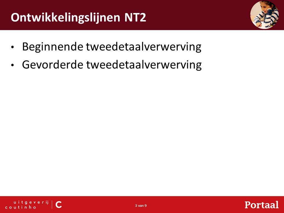 3 van 9 Ontwikkelingslijnen NT2 Beginnende tweedetaalverwerving Gevorderde tweedetaalverwerving