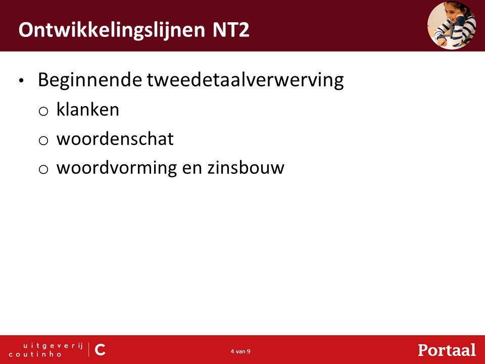 4 van 9 Ontwikkelingslijnen NT2 Beginnende tweedetaalverwerving o klanken o woordenschat o woordvorming en zinsbouw